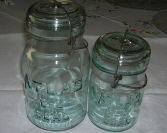 "2 Vintage Aquamarine ""Atlas E-Z Seal"" One Pint & One Quart Sized Jar  With Glass Lids and Wire Bale Locking System Circa 1920's  Lot 4"