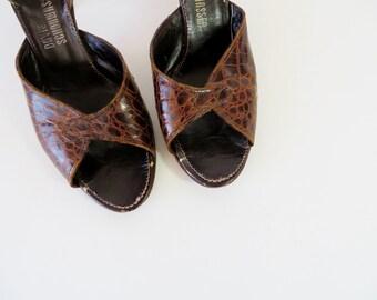 Vintage 1940s Shoes / 40s Shoes / Peep Toe Heels Peeptoe Shoes / Brown Shoes / 1950s Shoes 50s Shoes / Size 7.5