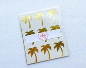 Palm Tree Sticker / Labels in Gold Foil or Gloss White
