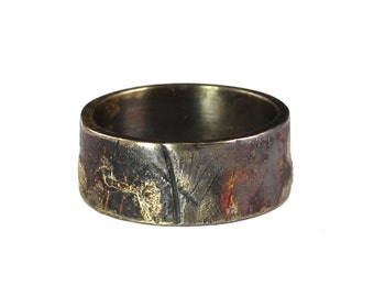 Urban Graffiti Band - Mens, Wedding Band, Rustic, Industrial, Distressed Metal, Destroyed, Oxidized Silver, 14k, 18k Gold, Textured