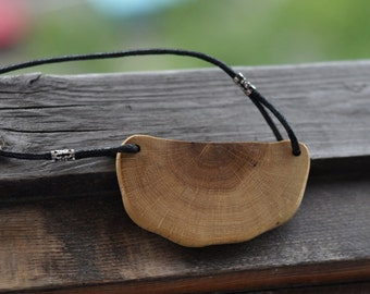 oak wood  •  original wooden necklace • wooden pendant