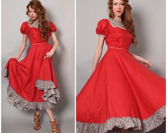 1950's Square Dance Dress / Cotton Feedsack Dress / Red Full Skirt