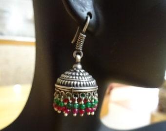 Jaipur Jhumkas-J420-Petite Jhumkas with Green and Red Beads