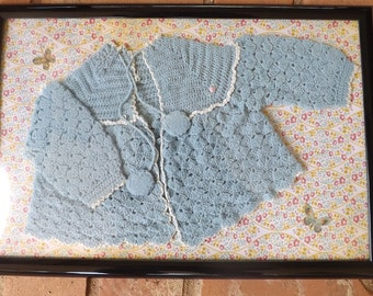 Vintage Hand Crocheted Baby Sweater Wall Hanging