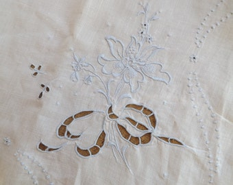 Antique Square Tablecloth With Blue Floral Embroidery And Cut work 1940s
