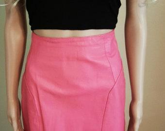 High Waist Pink Leather Pencil Skirt