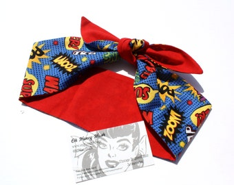 Vintage Inspired Headscarf, Headwrap, Pow, Comic, Retro, Rockabilly