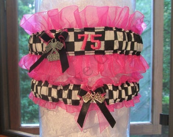 Personalized Embroidered Racing inspired wedding garter set - Custom Bridal Garter set.