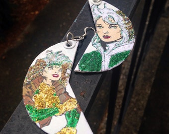 Glitter Dangerous Beauty - hand-painted Rogue X-Men comic book earrings
