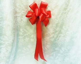 Red Satin Wedding/ Pew Bows set of 12