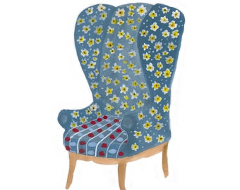 Have a Seat, Print of original armchair illustration