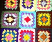 36 Crochet Granny Square Blocks for Afghan 6 Inches Multicolored