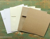 """100 Square FLAT Cards 4.75"""" with 5"""" Square Envelopes, Blank Square Invitations, Recycled, Kraft Brown, Light Brown, White, Natural, Ivory"""