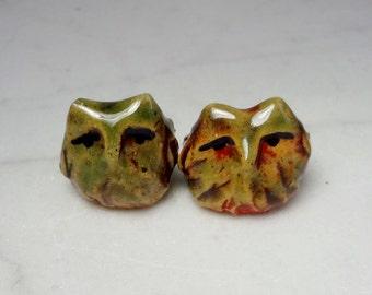 Owl Terrarium Figurines - Tiny Miniature - Handmade Ceramic  Owl - Red and Green - Pottery Owl - Clay Owl - set of 2 (studio choice)