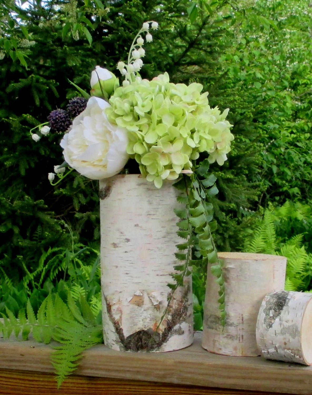 Birch log vase centerpieces wedding home decor by