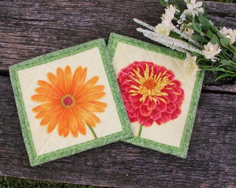 Autumn Bloom Quilted Mug Rugs - set of 2