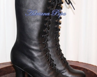 Ankle Victorian Boots Black Leather Victorian boots  Edwardian Ankle Black Boots heeled Stage boots