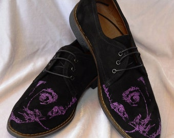 Men Oxford shoes Embroidery Oxford shoes Black leather Oxford shoes Salvador Dali embroidery Men Shoes