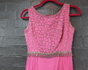 SALE Vintage full length Pink Evening Gown Beaded Dress by Ronald Originals S