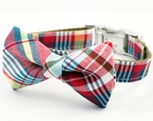 Red Madras Bow Tie Dog Collar