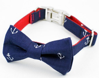 Bow Tie Dog Collar - Navy Anchor