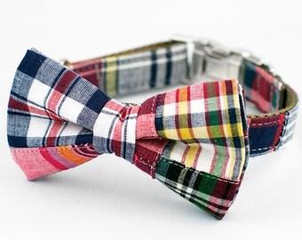 Multi Madras Bow Tie Dog Collar