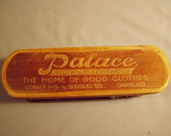 Antique Advertising Wood Clothes Shoe Brush Palace Clothing Co Omaha Nebraska 7943