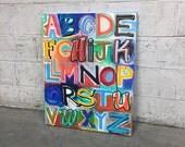 Alphabet Soup No. 28 Large Colorful Lettering Painting 24 X 30
