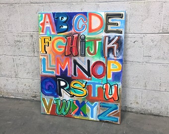 Alphabet Soup No. 28 Large Colorful Lettering Painting 24 X 30