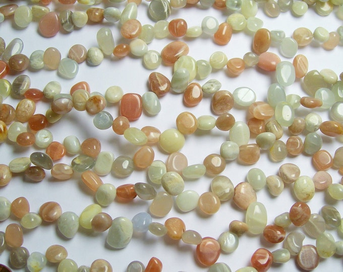 Moonstone briollete pebble beads -  1 full strand - mix moonstone - 50 beads - PSC103