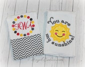 New Baby Gift Set Your Are My Sunshine Burp Cloths, Bodysuits and/or Bibs Mix and Match Pick Any Theme or Fabrics Free Personalization Pink