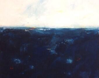 Indigo Blue Abstract Ocean Painting - Indigo Sea 36 x 36
