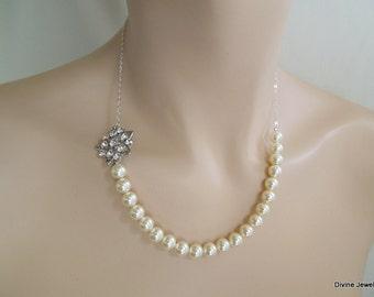 Pearl Necklace,Bridal Necklace,Bridal Rhinestone Necklace,Ivory or White Pearls,Pearl Rhinestone Necklace,Pearl Bridal Necklace, DINORAH