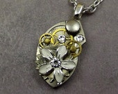 Steampunk Flower Necklace, White Daisy, Small Pocket Watch Plate