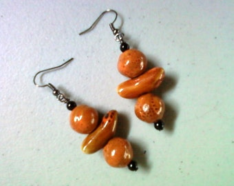 Orange Ceramic Earrings (1271)