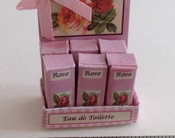 Dolls House Miniatures - 1/12th Rose perfume shop counter display