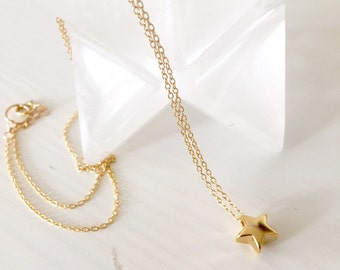 Tiny star necklace / gold filled daknty necklace/ gold star necklace