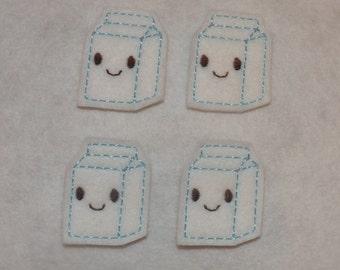 Feltie Machine Embroidered Hand made (4) Felt Milk CUT Embellishments / appliques