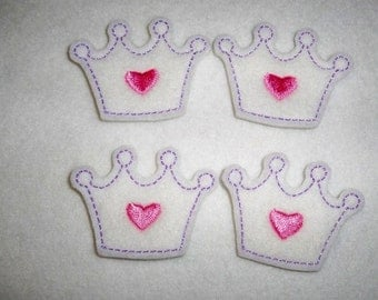 Ready to Ship Feltie Machine Embroidered Hand made (4) Crown CUT Embellishments / appliques