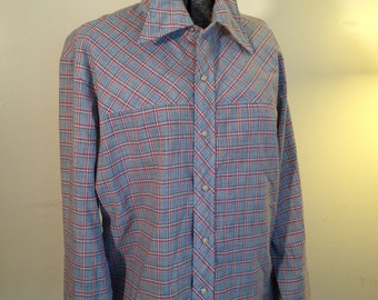 70s Western Style Snap Front Shirt by Sears in Red White and Blue Check