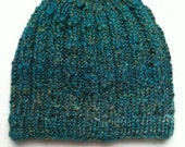 Hand Knit Alpaca Beanie,  Unique Hand Knit Hat, Cable Beanie Color Green Paradise