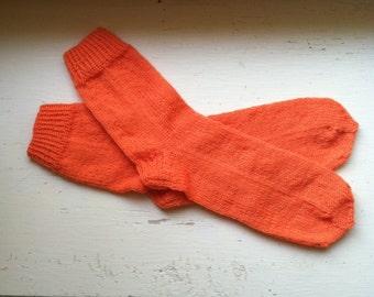Hand Knit Soft And Warm Men's Pure Wool Socks, Size 9.5 - 10  (10.5 inches length) - Color Orange- Men's Orange Socks