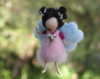 Needle felted Waldorf inspired Mobile Ornament Little magic fairy pink