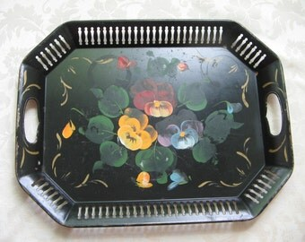 Vintage Large Metal Serving Tray Black & Gold With Hand Painted Tole Pansies Flowers, Pierced Reticulated Octagon, Bohemian Garden Decor
