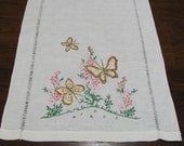 Vintage Hand Embroidered Butterfly Table Runner Dresser Scarf Cotton Linen