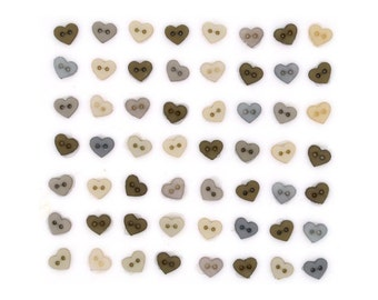 Jesse James Button Vintage Linen Micro Mini Shapes Hearts Doll Size Button Embellishments