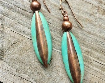 Turquoise and Copper Boho Earrings