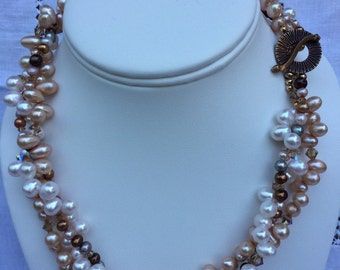 Twisted Cream, Gold and Brown Pearl Necklace