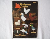 9 Weathervanes Crochet Pattern Book, Stuffed animal, Annie's Attic 87W30,  soft sculpture, chicken, duck, sheep, cow, duck, pig horse goose,