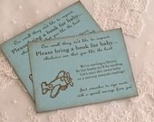 Airplaine Bring a Book Insert Card Baby Shower Invitation Insert Set of 10